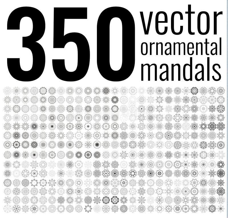 Insieme circolare geometrico dell'ornamento Mandale isolate di vettore fotografie stock