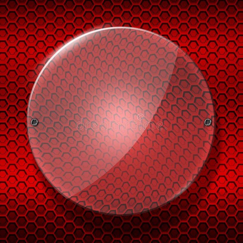 Insieme 8 circondi il vetro lucido sulla parete metallica rossa della maglia illustrazione di stock