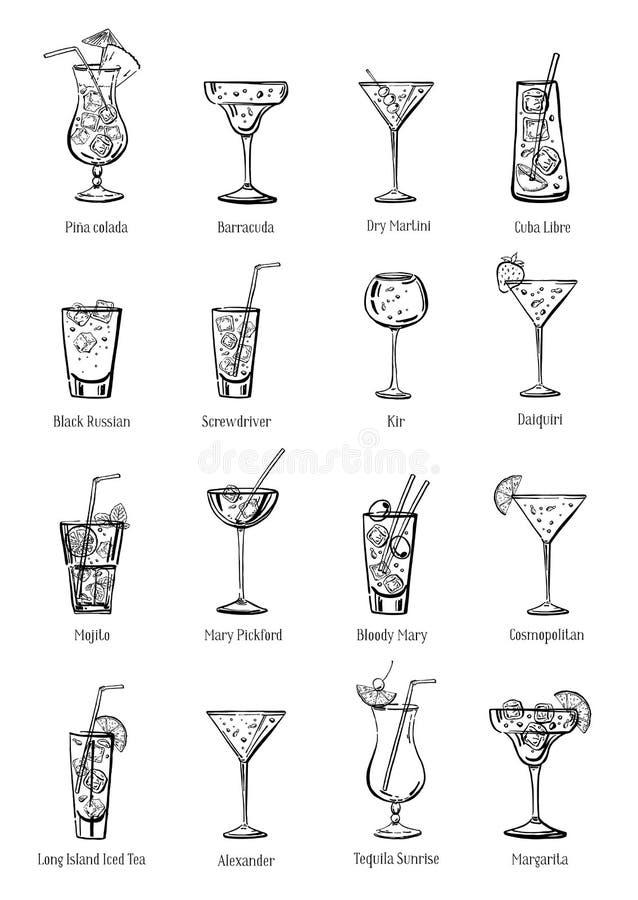 Insieme classico dei cocktail Una raccolta di sedici bevande Illustrazione disegnata a mano del profilo di schizzo di vettore illustrazione vettoriale