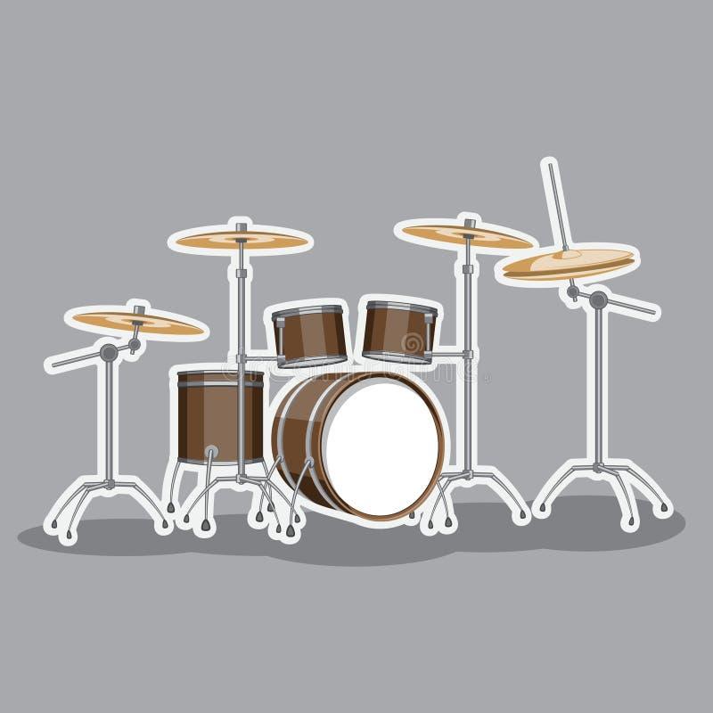 Insieme classico del tamburo dello strumento musicale Immagine di vettore illustrazione di stock