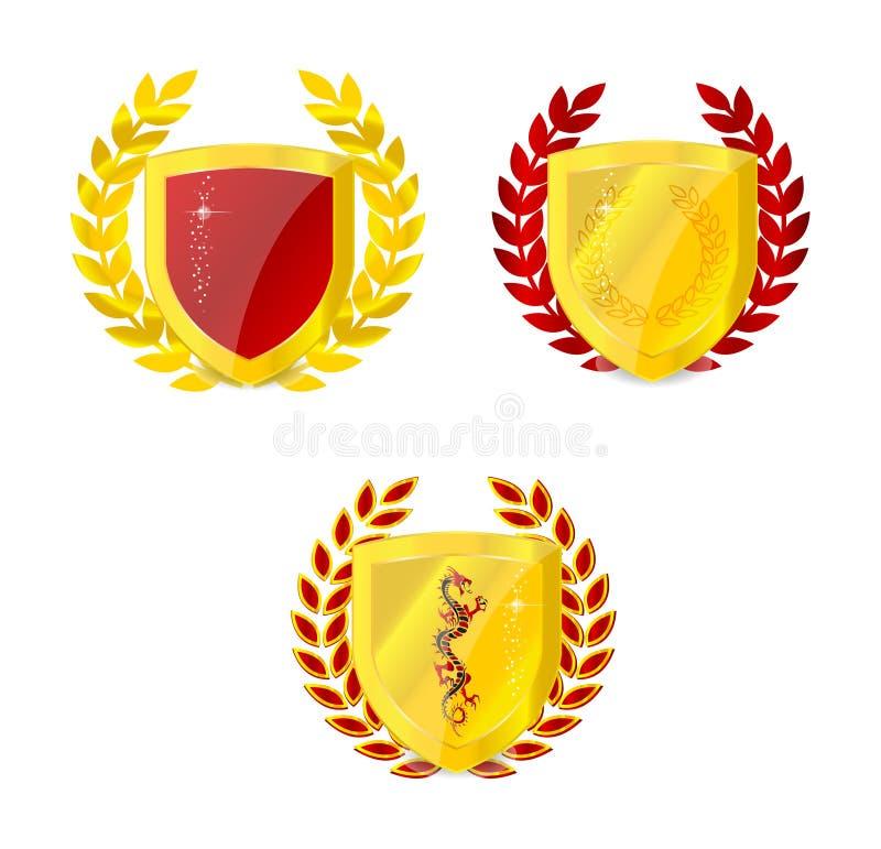 Insieme classico dell'emblema dell'oro lucido isolato illustrazione di stock