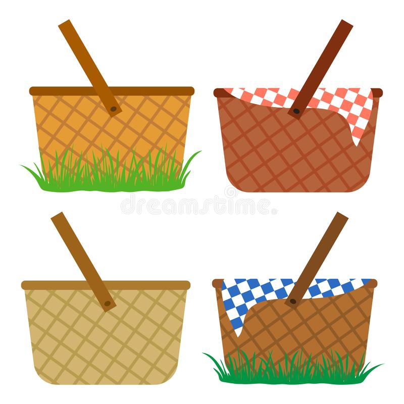 Insieme colorato dei canestri di vimini Canestri nell'erba, per un pasto, per un picnic Vettore illustrazione vettoriale