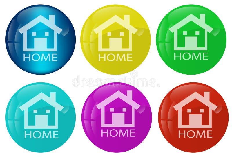Insieme colorato del tasto domestico di Web illustrazione di stock