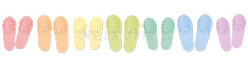 Insieme colorato dell'arcobaleno delle pantofole dell'ospite royalty illustrazione gratis