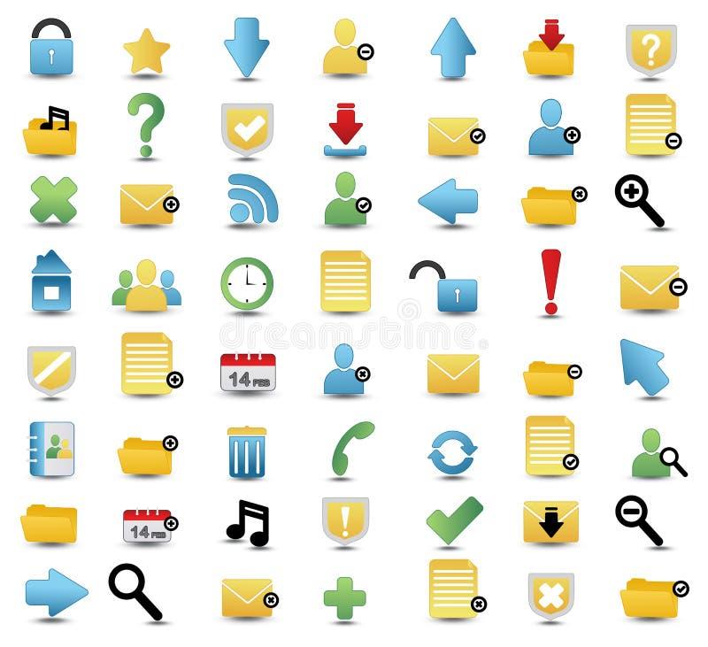 Insieme colorato dell'icona di vettore di media e di Web illustrazione di stock