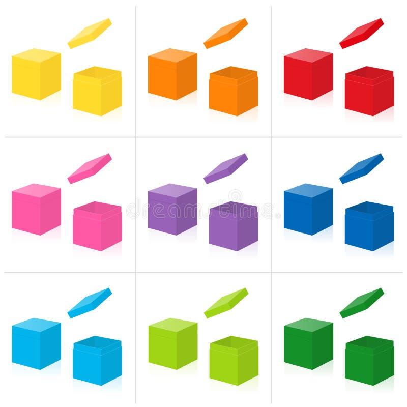 Insieme colorato della copertura aperto-chiuso dei contenitori di regalo illustrazione di stock