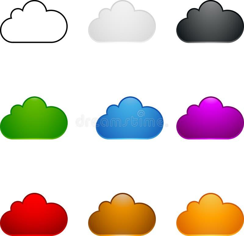 Insieme colorato della nube royalty illustrazione gratis