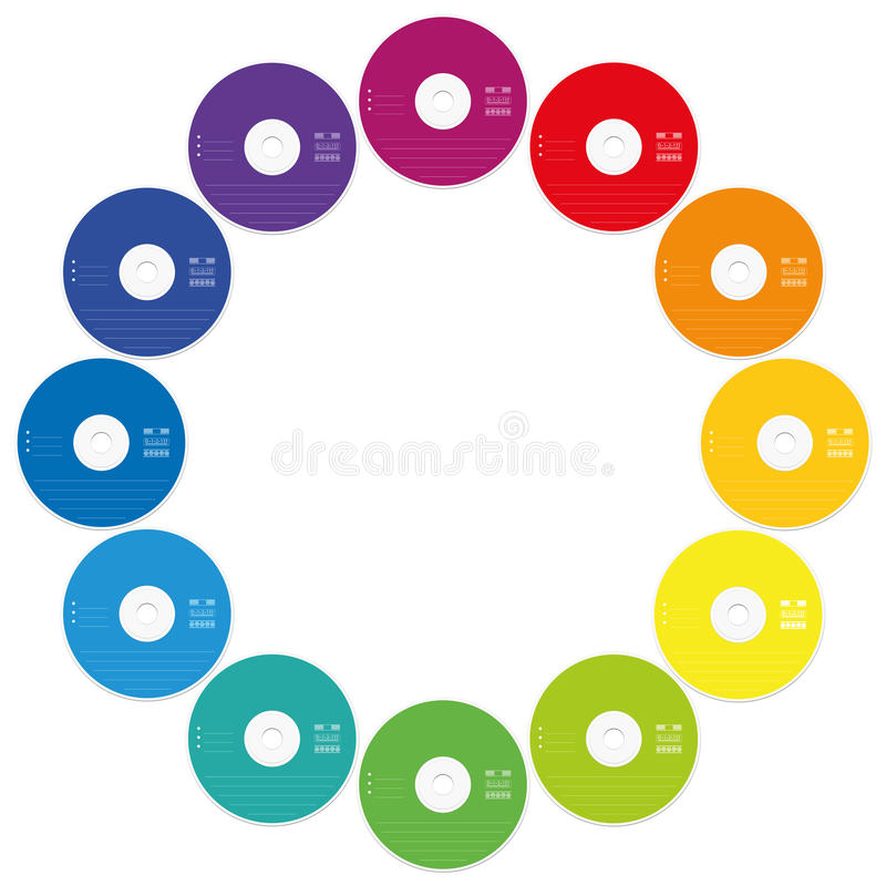 Insieme colorato della struttura rotonda dei CD illustrazione vettoriale
