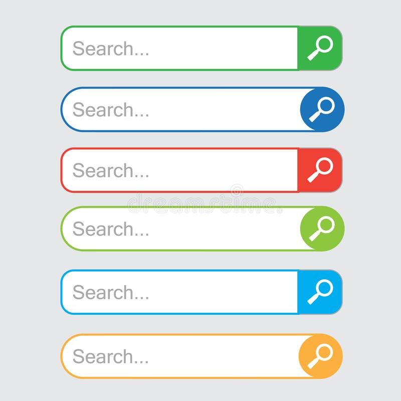 Insieme colorato delle barre di ricerca, modello per la ricerca di Internet Campo di ricerca di web Vettore illustrazione vettoriale