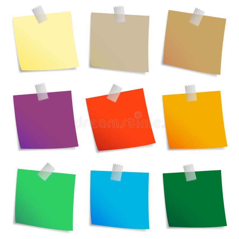 Insieme colorato delle note appiccicose illustrazione vettoriale