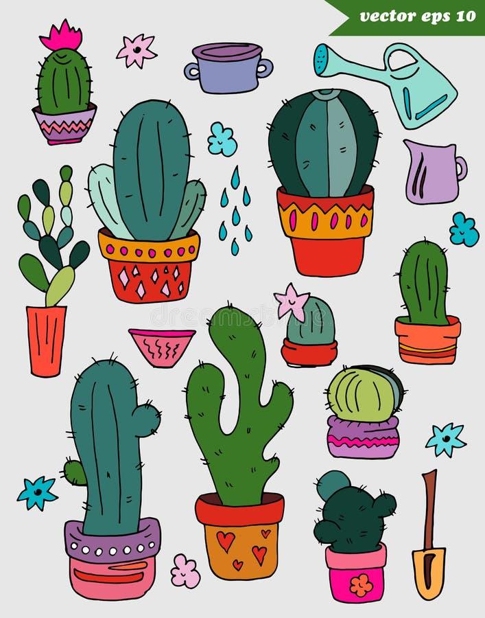 Insieme colorato disegnato a mano di catus royalty illustrazione gratis