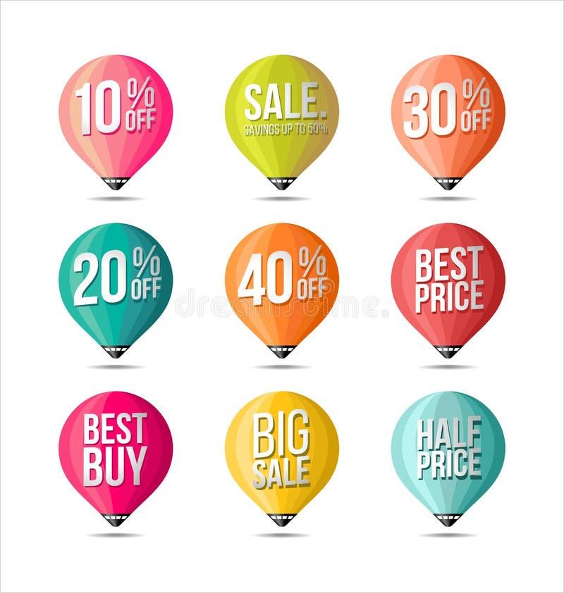 Insieme colori degli autoadesivi di vendita di retro Distintivi ed etichette promozionali di vendita fotografia stock
