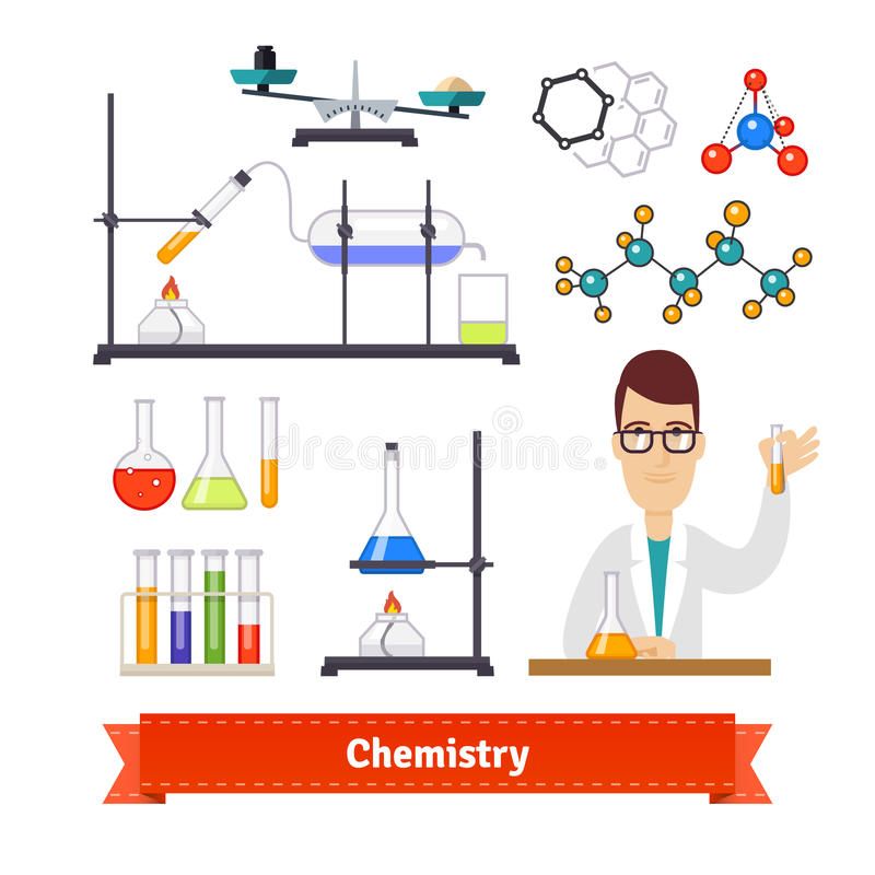 Insieme colourful dell'attrezzatura e del chimico di chimica royalty illustrazione gratis