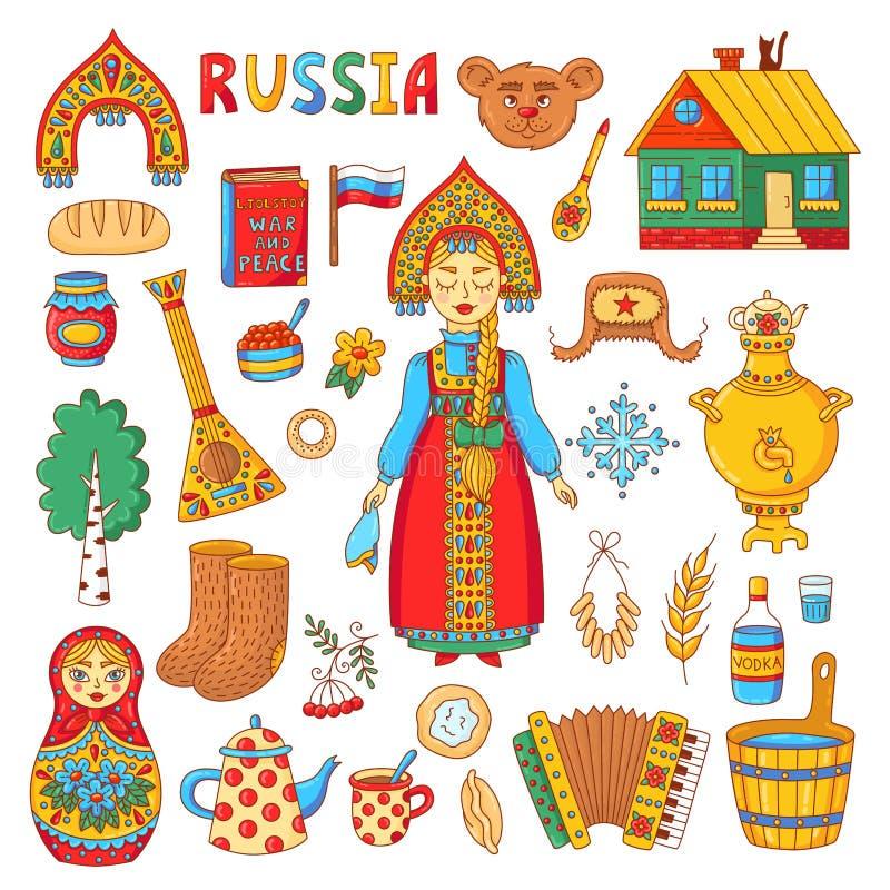 Insieme colrful di vettore delle icone di scarabocchio tradizionale russo di simboli illustrazione vettoriale