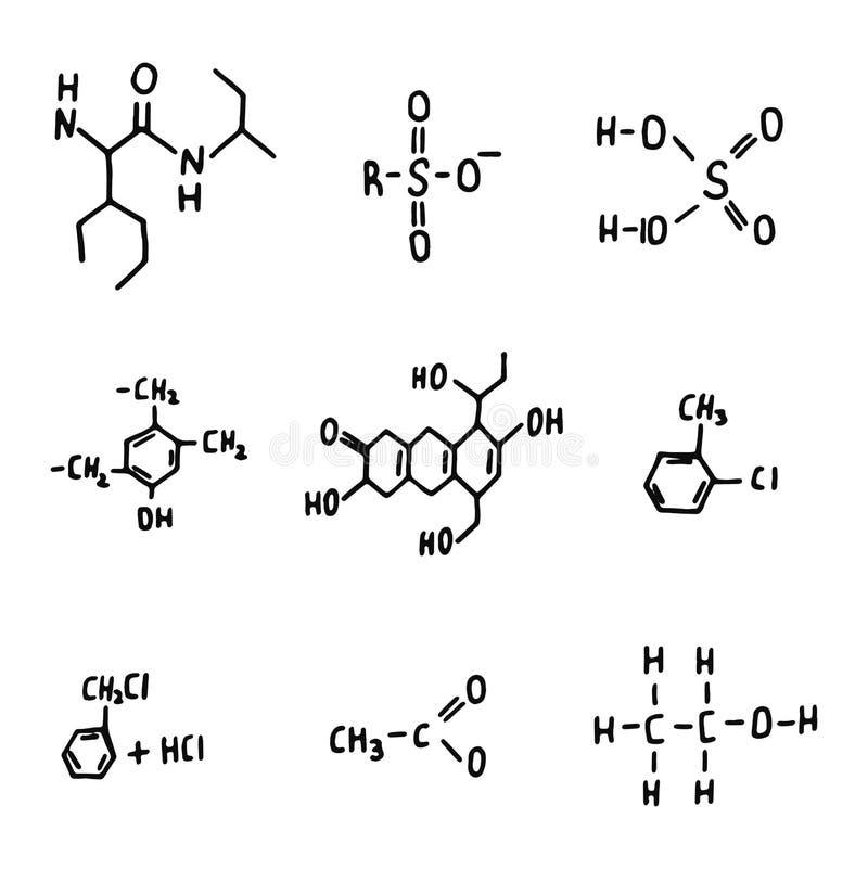 Insieme complesso delle icone di formule chimiche siluetta isolata degli oggetti illustrazione di stock