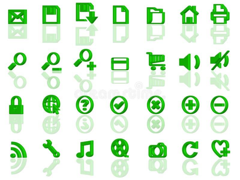 Insieme completo delle icone di Web 3d immagine stock