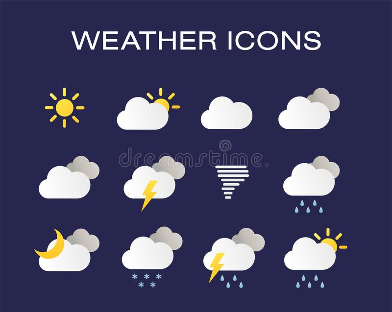 Insieme completo delle icone realistiche moderne del tempo Icone moderne del tempo messe Simboli piani di vettore su fondo scuro royalty illustrazione gratis