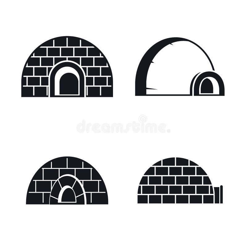 Insieme congelato dell'icona dell'iglù, stile semplice royalty illustrazione gratis