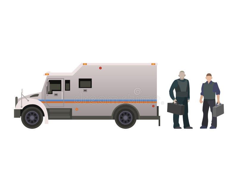 Insieme corazzato dell'armatura dell'illustrazione di vista laterale dell'automobile di trasporto del furgone della banca di vett royalty illustrazione gratis