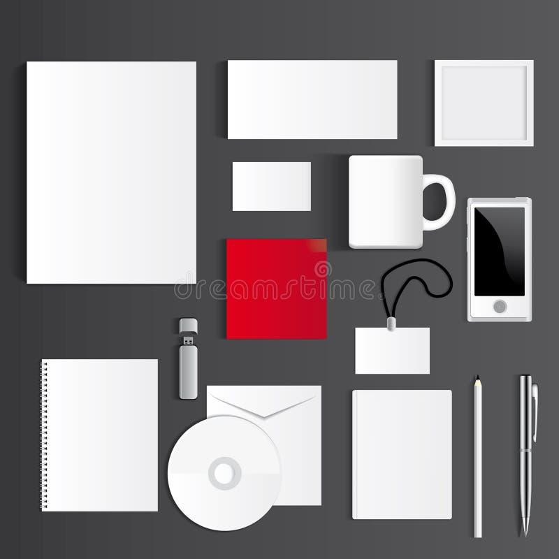 Insieme corporativo in bianco isolato su derisione di grey su illustrazione vettoriale