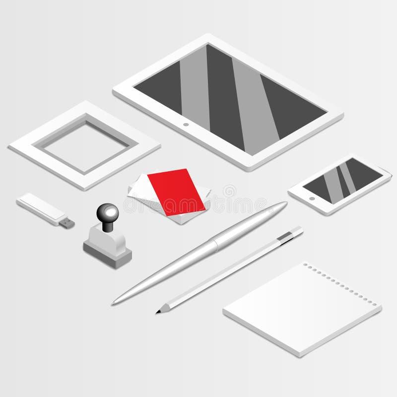 Insieme corporativo in bianco isolato su derisione di grey su illustrazione di stock