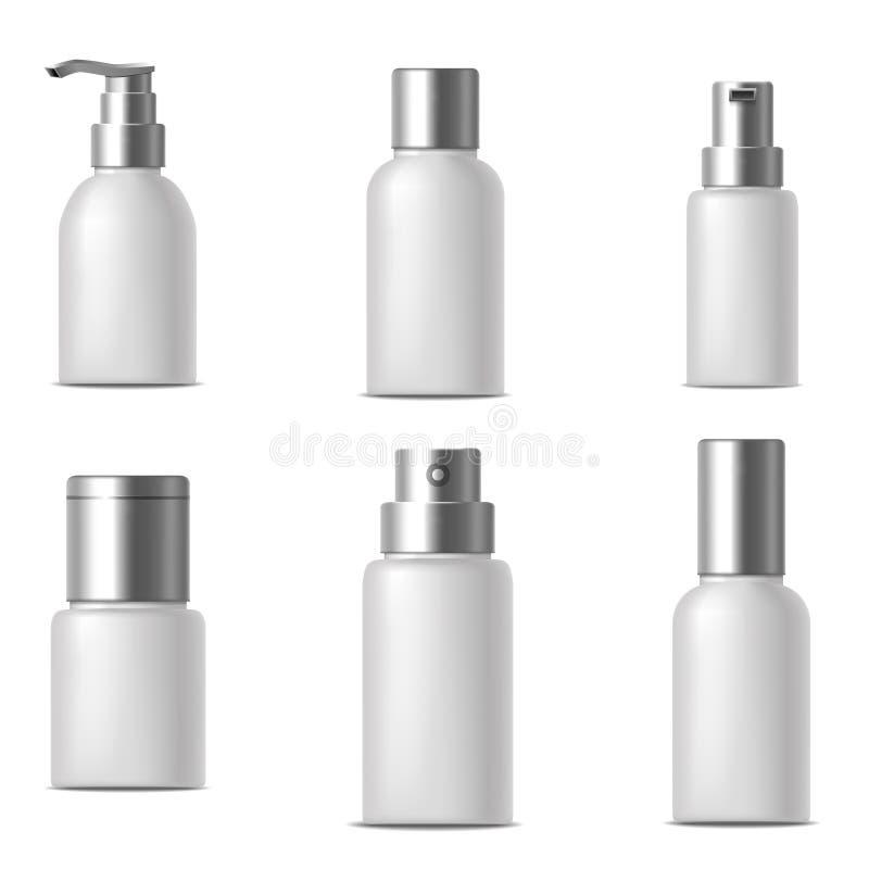 Insieme cosmetico bianco della crema della Banca o della bottiglia dello spazio in bianco realistico del modello Vettore illustrazione vettoriale