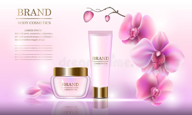 Insieme cosmetico di bellezza della crema per il corpo per cura di pelle con le orchidee su un fondo rosa Modello per le insegne, royalty illustrazione gratis