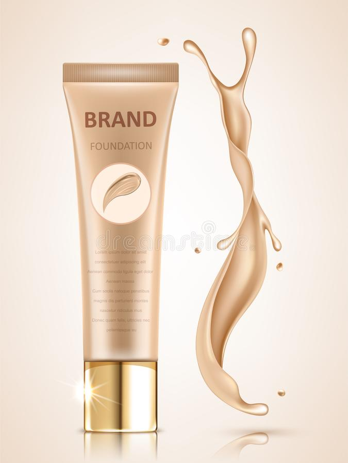 Insieme cosmetico di progettazione di pacchetto, modello in bianco del tubo del fondamento per gli usi di progettazione nel tono  illustrazione vettoriale