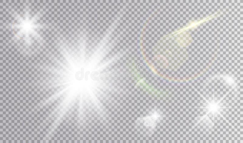 Insieme cosmico di effetti della luce illustrazione di stock