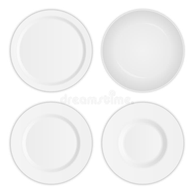 Insieme creativo dell'illustrazione del piatto realistico rotondo bianco del piatto 3D isolato su fondo trasparente Porcellana s  illustrazione di stock