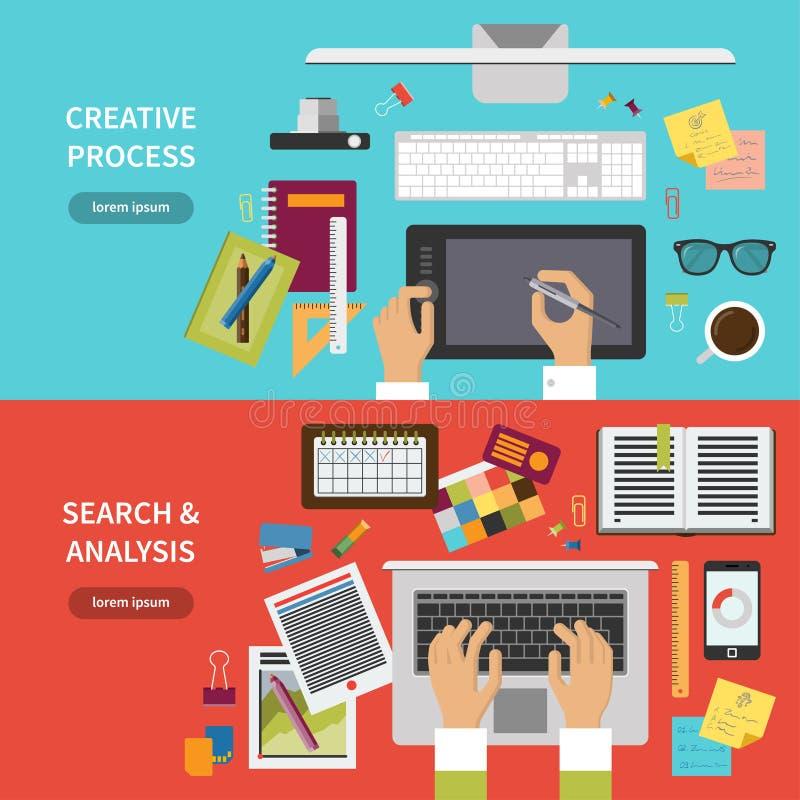 Insieme creativo di concetto di processo, di ricerca e di analisi royalty illustrazione gratis