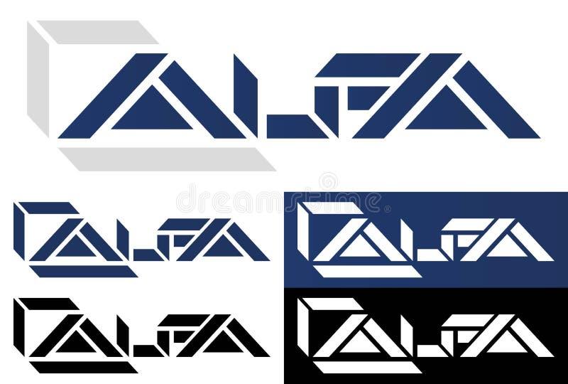 Insieme creativo di logo dell'alfa di progettazione di colore logo della geometria illustrazione di stock
