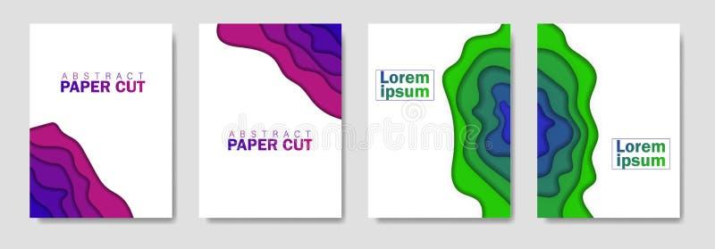 Insieme creativo moderno dei manifesti con un fondo astratto 3d e le forme del taglio della carta Disposizione di progettazione,  royalty illustrazione gratis