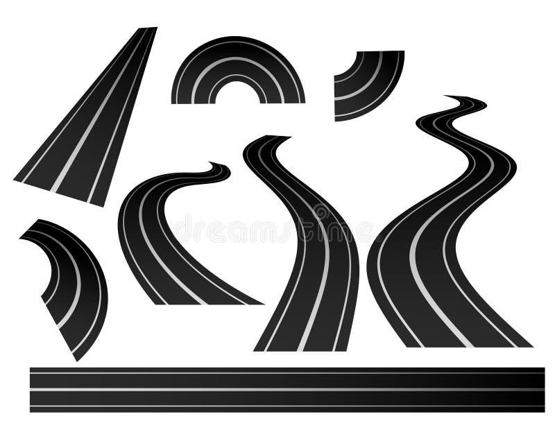 Insieme curvo di direzione della strada di avvolgimento illustrazione vettoriale