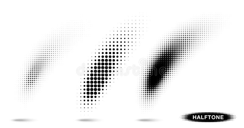 Insieme curvo di semitono del textur del modello di pendenza Sbavatura della spazzola della curva facendo uso dei punti di semito royalty illustrazione gratis