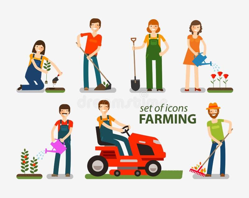Insieme d'agricoltura e di giardinaggio delle icone La gente sul lavoro sull'azienda agricola Illustrazione di vettore illustrazione di stock
