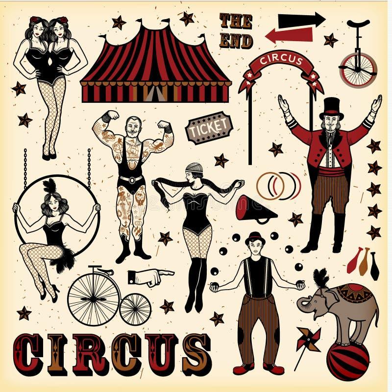 Insieme d'annata del circo royalty illustrazione gratis