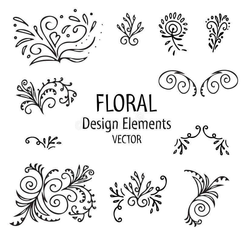 Insieme d'annata del grafico degli elementi floreali forme floreali su fondo bianco Illustrazione di vettore illustrazione vettoriale