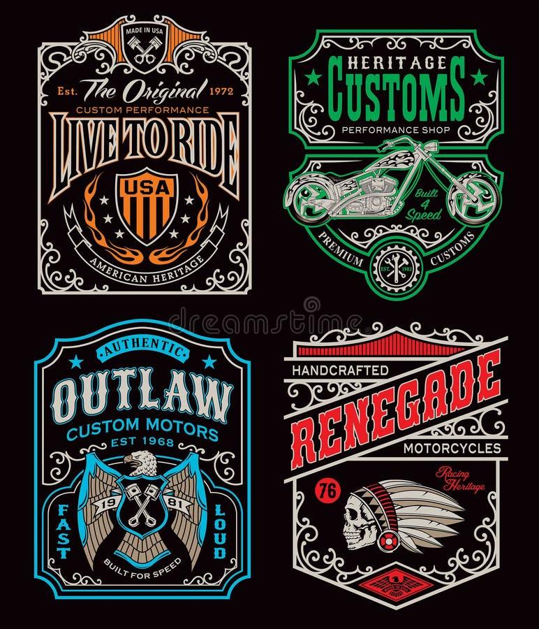 Insieme d'annata del grafico della maglietta del motociclo illustrazione di stock