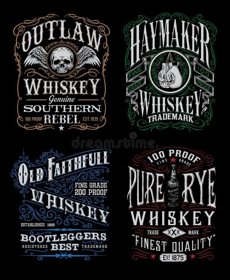 Insieme d'annata del grafico della maglietta dell'etichetta del whiskey illustrazione vettoriale