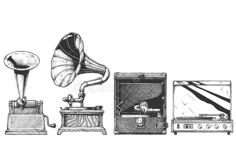 Insieme d'annata del grammofono e della fonografo illustrazione vettoriale