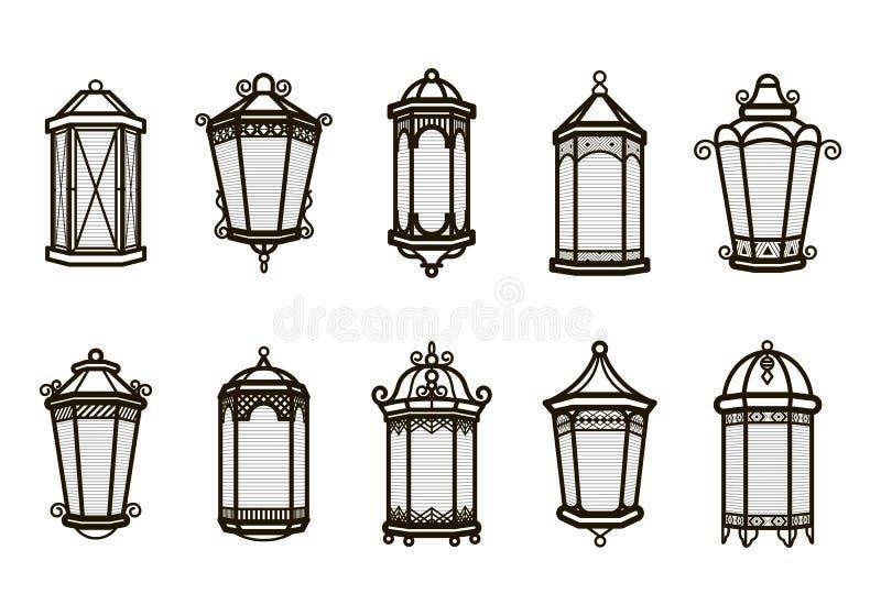 Insieme d'annata della lanterna di vettore isolato su bianco Luce antica classica Retro progettazione antica della lampada Siluet illustrazione vettoriale