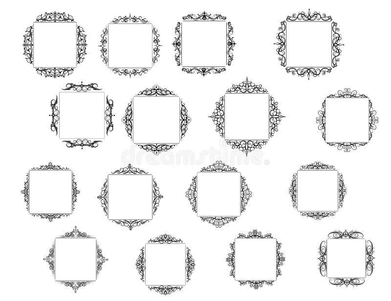 Insieme d'annata della struttura di turbinio di vettore illustrazione di stock