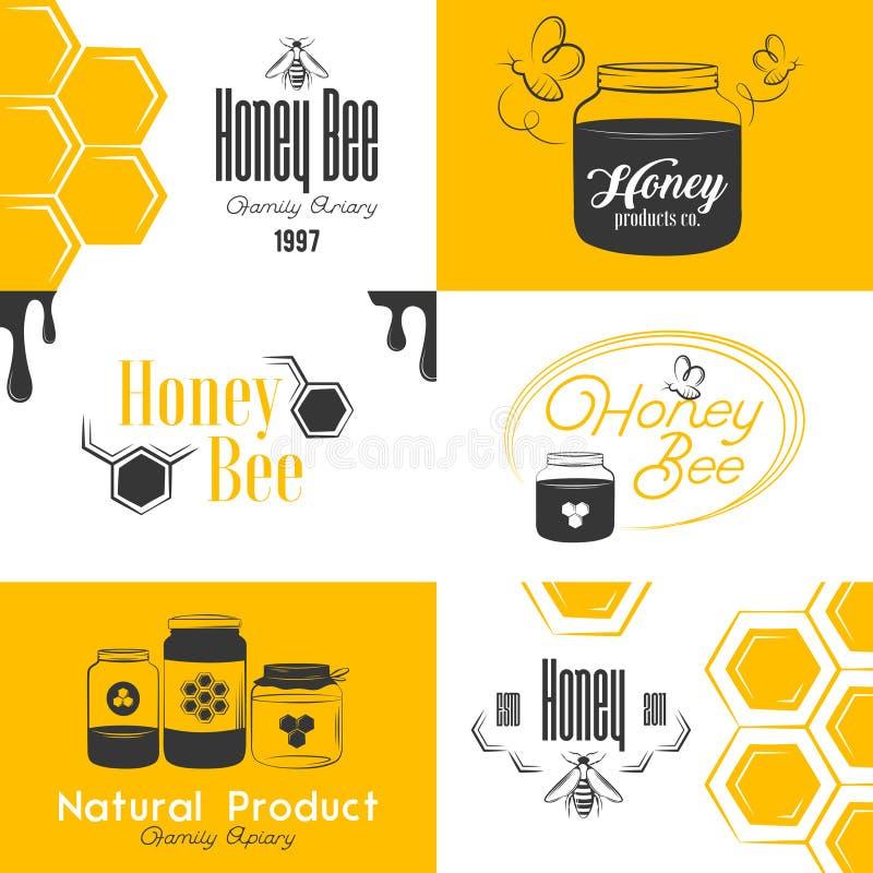 Insieme d'annata di logo del miele illustrazione vettoriale