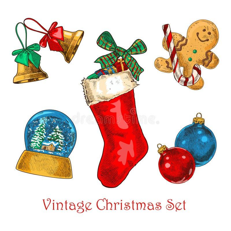 Insieme d'annata di Natale immagini stock libere da diritti
