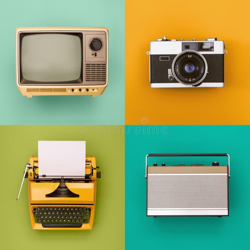 Insieme d'annata/retro di elettronica immagini stock libere da diritti