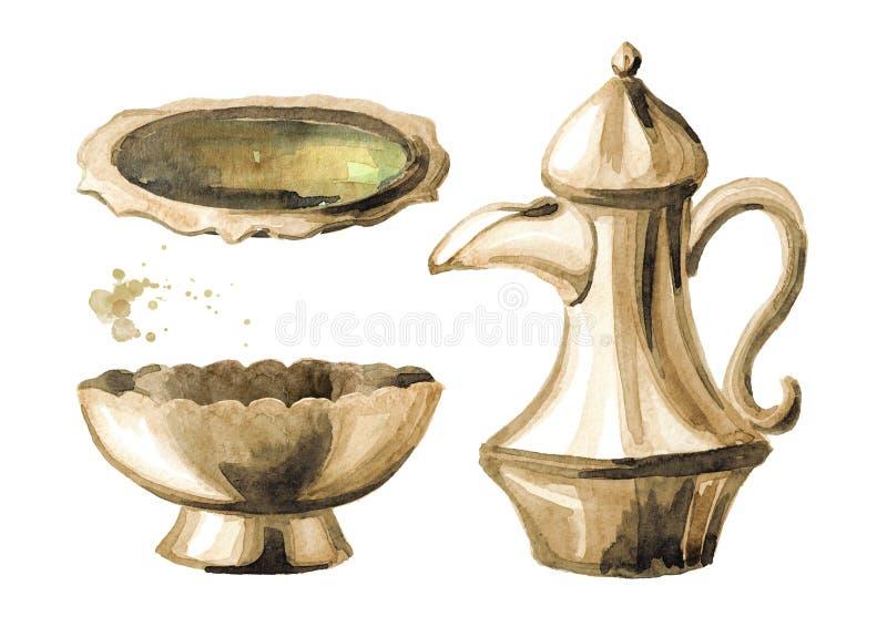 Insieme d'argento delle terrecotte Vaso, ciotola e piatto arabi tradizionali di Coffe Illustrazione disegnata a mano dell'acquere illustrazione vettoriale