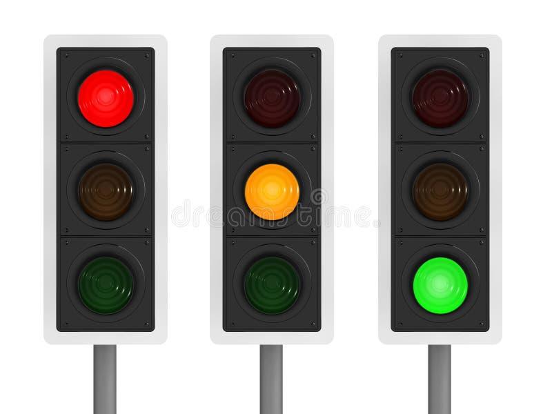 insieme 3d dei semafori illustrazione di stock