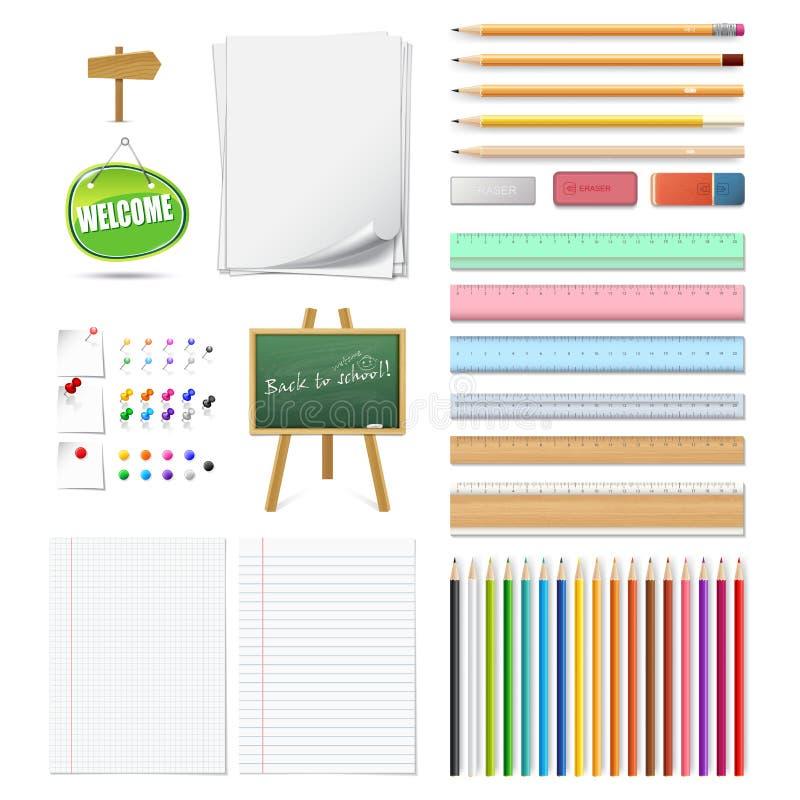 Insieme 3d delle matite colorate di legno realistiche, perni di spinta, gomme, royalty illustrazione gratis