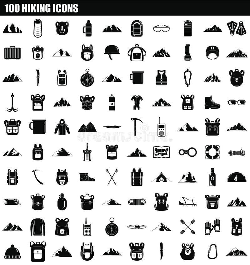 insieme d'escursione dell'icona 100, stile semplice illustrazione di stock
